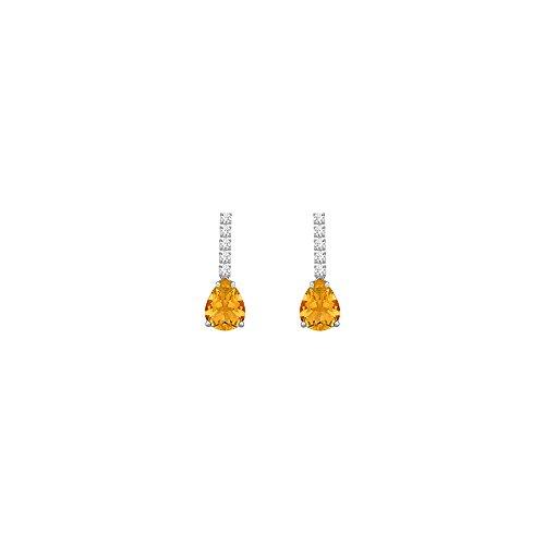 Diamond And Earrings Citrine (Diamond and Citrine Earrings 14K White Gold 1.25 CT TGW)