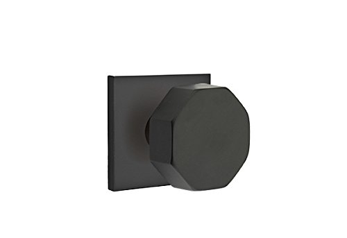Passage Set, Modern Square Rosette, Octagon Knob, Flat Black