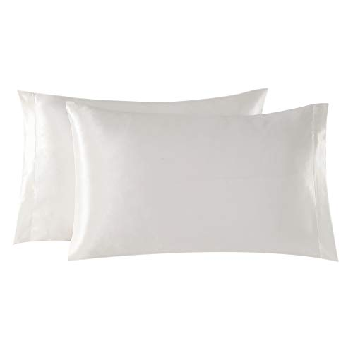 EXQ Home Satin Pillowcases Set of 2 for Hair and Skin King Size 20x40 Ivory Pillow Case with Envelope Closure (Anti Wrinkle,Hypoallergenic,Wash-Resistant)