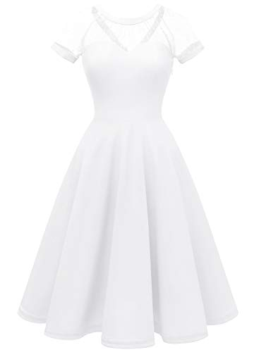 LVNES IV1801 Women's 1950s Retro Illusion Cocktail Party Swing Dress Sheer Mesh A-line Prom Dress White 2XL