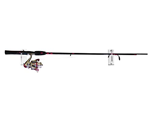 Deluxe Clear Acrylic Fishing Pole Horizontal Wall Mount Bracket (A023-F-SS) ()