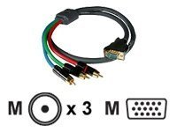 (C2G/Cables to Go 40335 SonicWave RCA Type Component Video to HD15 Breakout Cable (50 Feet,)