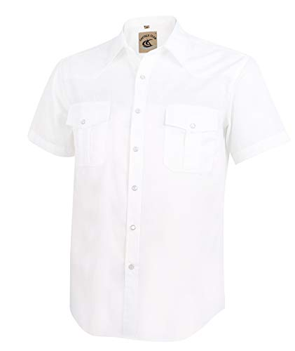 (Coevals Club Men's Short Sleeve Casual Western Solid Buttons Shirt (XL, White))