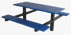 Sports Play 601-652 8 Double Cantilever Picnic Table with 4 Square Tubing - Rolled Edge Perforated Steel - Edge Perforated Picnic Table