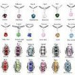 Birthstone Charms Spacer Beads Compatible for European Bracelets