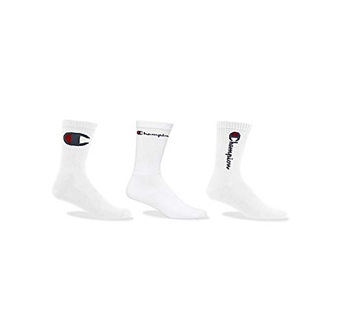 Champion LIFE Men's 3-Pack Multi Logo Athletic Crew Socks, White, 6-12
