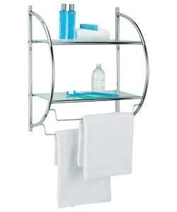 Fantastic Looking Chrome Plated D Shaped Wall Shelf Unit Bathroom Storage Unit Ideal Storage