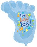 Creative Converting CTI Mylar Balloons, Baby Boy Footsie, 34'', Blue pack of 5