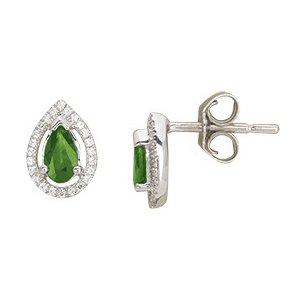 So Chic Bijoux © Boucles d'oreilles Femme Puces Goutte Emeraude Vert & Diamants Or Blanc 750/000 (18 carats)