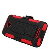 Eagle Cell Hybrid Protective Case Stand/Belt Clip Holster for HTC Desire 510 - Retail Packaging - Red/Black (Htc Desire 510 Case Belt Clip compare prices)