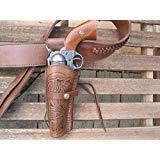Shotgun Lilli Western Gunbelt with Left Handed Tooled Holster Combo - 22 Caliber - Leather - Brown (46