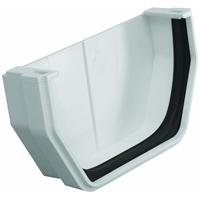 Raingo RW102 White Outside End Cap - Raingo White Gutter