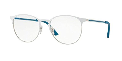 Ray-Ban RX6375 Eyeglasses Silver Top On White - Ray Ban Eyeglasses White