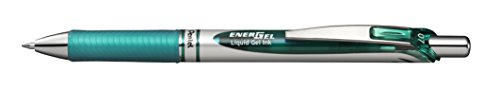 Pentel EnerGel RTX Retractable Liquid Gel Pen Metal Tip, 12 Pack, 0.7mm, Medium Line, Turquoise Blue (BL77-S3)