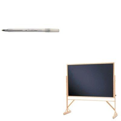 KITBICGSM11BKQRTWTR406810 - Value Kit - Quartet Reversible Chalkboard w/Hardwood Frame (QRTWTR406810) and BIC Round Stic Ballpoint Stick Pen (BICGSM11BK)
