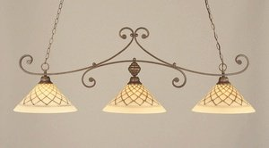 Toltec Chocolate Icing Glass - 3-Light Curl Bar Lights w 16 in. Chocolate Icing Glass Shades