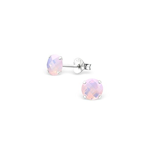 Price comparison product image 925 Sterling Silver Round Opal and Semi Precious Ear Studs