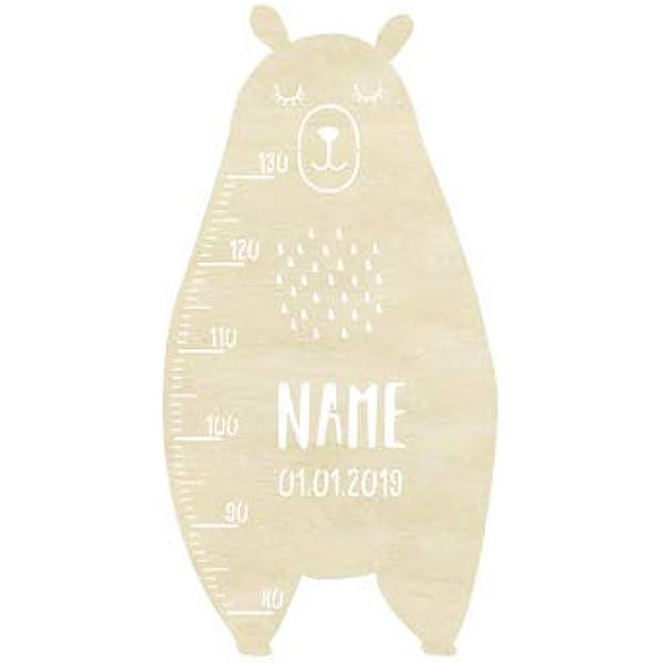 Messlatte Kind Gr/ö/ße Modell B/är Kinderzimmer-Messlatte//Tauf-Geschenk oder zur Geburt//Personalisiert mit Wunsch-Name f/ür M/ädchen oder Jungen Babyzimmer Design by HeLLo Mini