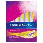 Tampax Radiant Plastic Regular Absorbency Unscented Tampons 16 CT (Pack of 18)