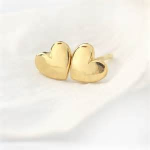 22k Earrings (Heart Stud Earrings, 24K Gold Premium Overlay Fashion Jewelry, Hypoallergenic, Safe For Most Sensitive Ears, GUARANTEED FOR LIFE)