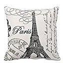 Paris Eiffel Tower Stamp Square Custom Throw Pillow Case, 18
