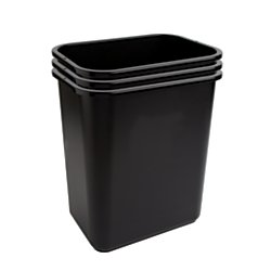 office depot wastebaskets, 7 gallons, 17 3/4in.h x 14 1/2in.w x 10 1/2in.d, black, pack of 3, wb0186
