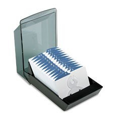 Rolodex 67037 Rolodex Covered Business Card File, 500 3 x 5 Cards, 24 A-Z Guides, Black