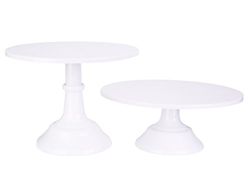 VILAVITA 2-Set Modern Cake Stands Round Cake Stand Cupcake Stands for Baby Shower, Wedding Birthday Party Celebration, White