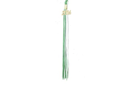 2014 Star Graduation Balloon - Graduation Tassel with Gold 2014 Year Charm (Green and White)