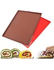 Baking Mat, Swiss Roll Cake Roller, Haranges Non-stick Silicone Oven Mat Cake Roll Mat Baking Mat Functional Baking Macaron Cake Pad Swiss Roll Pad Bakeware Baking Tools (Random) Pack of 1