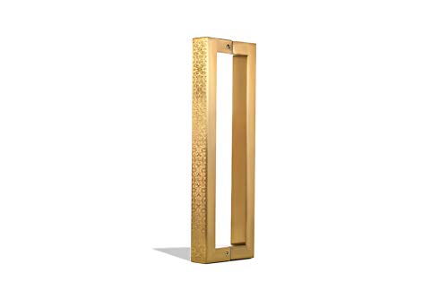 - 16 Inch Square Rectangle Flat Shape Stainless Steel Modern Contemporary Entry Door Handle Bar Pull Shower Glass Sliding Barn Door Entrance Interior Exterior Door Pull Push Engrave Gold Plate Finish