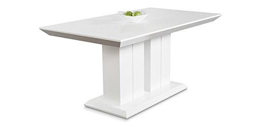 Hochglanz Esstisch Tisch MARBELLA 120x80cm Lack Weiss Säulentisch