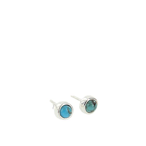 (Pura Vida Turquoise Boho Stud Earring Set - w/Semi Precious Stone.925 Sterling Silver - Accessory for Women)
