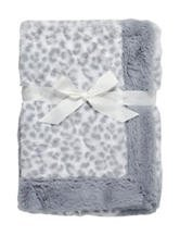 Baby Animal Print Soft Gray and White Blanket