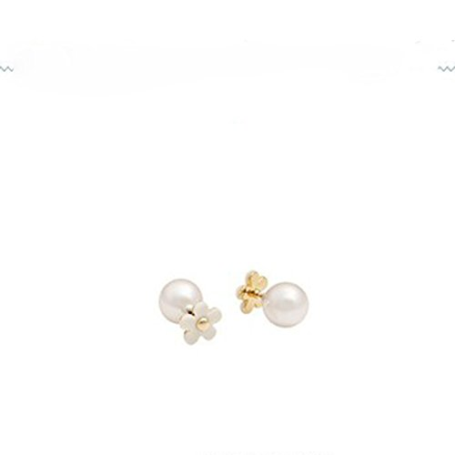 Double Sided Flower - Double Sided Pearl and Flower Earrings (White)