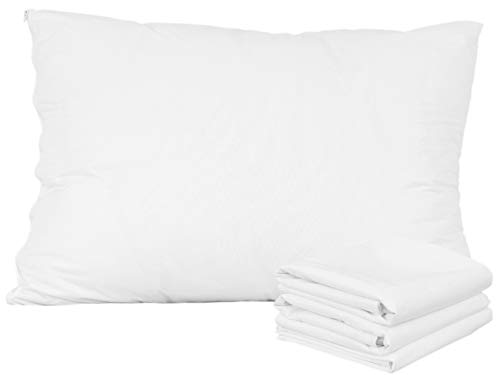 Pillow Protectors Queen 4 Pack 100% Waterproof Anti Allergy Bed Bug Dust Mite Proof Life Time Replacement Smooth Polyester Jersey Fabric Zipp Encasement Hypoallergenic Covers Cases Set White