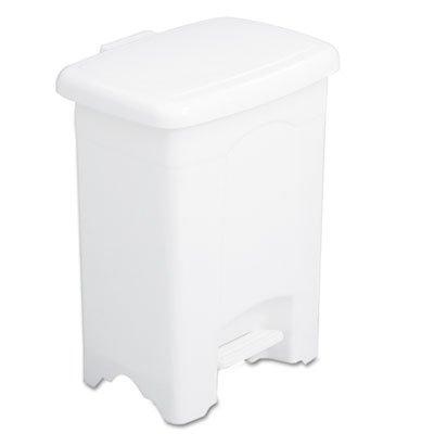 Four Gallon Plastic Step - Safco® - Step-On Receptacle, Rectangular, Plastic, 4 gal, White - Sold As 1 Each - Ideal for managing waste in smaller spaces.