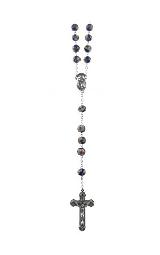 8 mm Heart Shaped Blue & Green Cloisonne Bead Rosary, Silver Ox Crucifix and Center