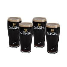 Guinness Gravity 20 Ounce Embossed Pint Beer Glasses 14K Gold Harp Logo / 4 Pack (Pint Guinness)