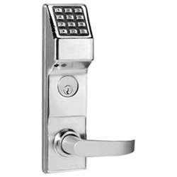 Alarm Lock Stainless Steel Trilogy T3 300-User Weatherproof Electronic Digital Keypad Classroom Mortise Lock Leverset, Left Hand, Straight Lever Classroom Function, Satin Chrome Finish