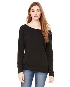 Bella + Canvas Women's Sponge Fleece Wide Neck Sweatshirt, Black, XX-Large