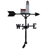 Montague Metal Products 32-Inch Weathervane with Swedish Iron Cottage Lighthouse Ornament ()