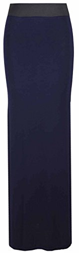 Flirty Wardrobe Maxi robe longue en Jersey style bohmien pour femme Motif Desire Clothing Jupe Bleu - Bleu marine