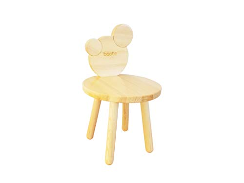Baobe Kids Deluxe Wooden Chair for Toddlers - Sturdy Hardwood Seat for Daycare/Preschool/Home Furniture - Natural Finish