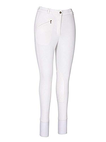 Tuffrider Ribb Knee Patch Breech - TuffRider Women's Ribb Knee Patch Breeches (Long), White, 34