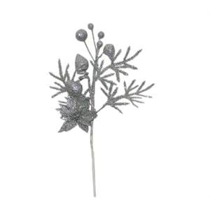"Tanday 6 bouquets 12"" (#6420) christmas picks w/ poinsettia flower, mistletoe & evergreen leaf - Gold. 9"