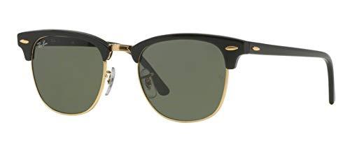a585ed1da0 Ray Ban Sunglasses Clubmaster RB3016 W0365 Ebony Black Arista Gold Crystal  Green