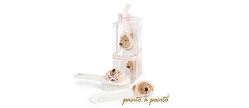 Pasitto a Pasito Set incluant une brosse et un peigne de b/éb/é /à motif Ours avec bonnet bleu