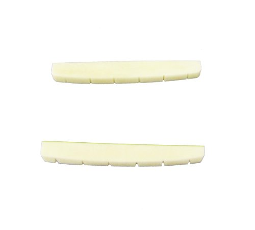 Musiclily 42mm Flat Bottom Guitar Slotted Bone Nut for Fender Strat Stratocaster Telecaster Tele Parts (Pack of 2)