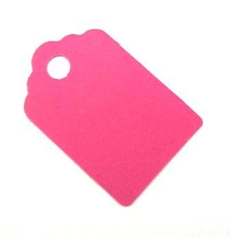 Pink Wedding Tag (25 Small Gift Tags / Hang Tags / Wedding Favor Tags - Bright Pink (100% Recycled Card) - 42mm X 28mm)